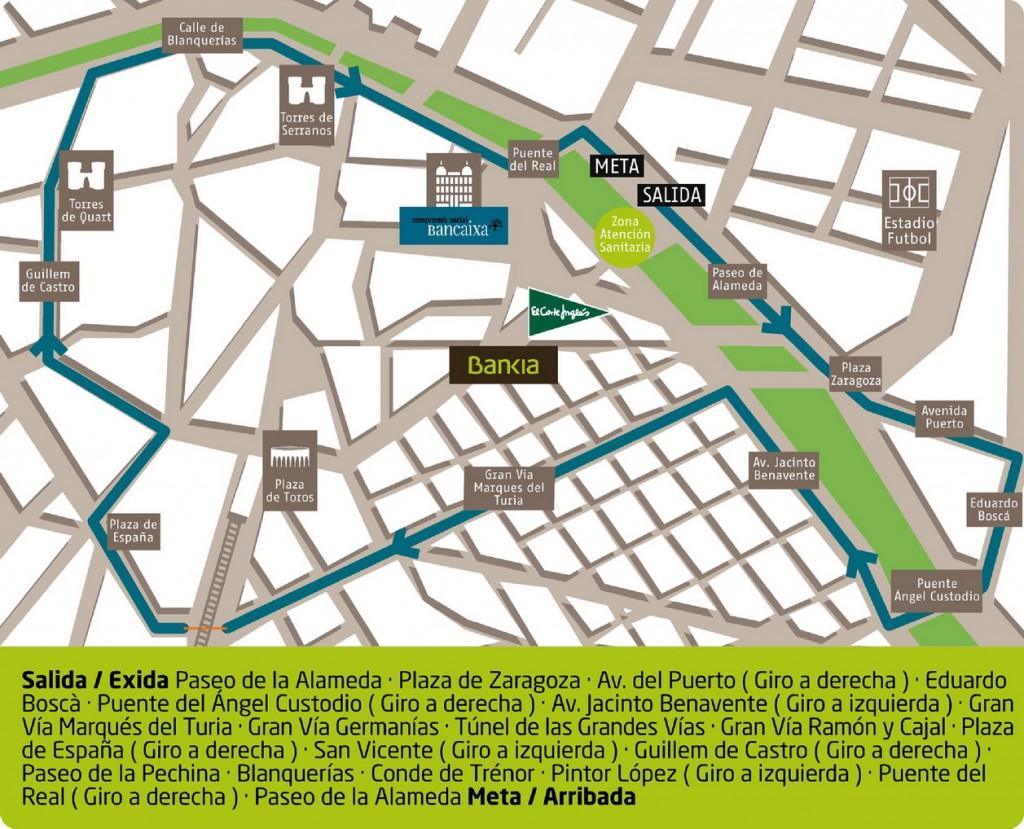 L'itinéraire de la Volta a peu de Valencia